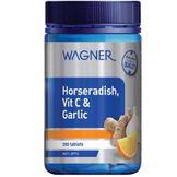 Viên uống tăng hệ miễn dịch, chữa cảm lạnh Wagner Horseradish Vitamin C & Garlic 200 viên