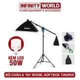Chân & tay boom studio kèm Softbox, đèn Led tùy chọn