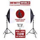 (Chân đèn LincoZenith xịn) Set 2 đèn softbox chụp ảnh sản phẩm/quay phim chính hãng TIANRUI