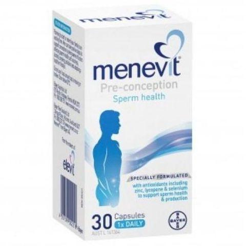 Thực phẩm chức năng Menevit điều trị vô sinh, tinh trùng yếu cho nam giới, 30 viên
