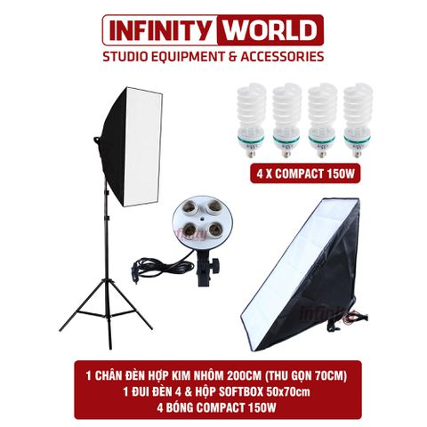Bộ đèn chụp sản phẩm, quay phim đui 4 (1 Bộ)