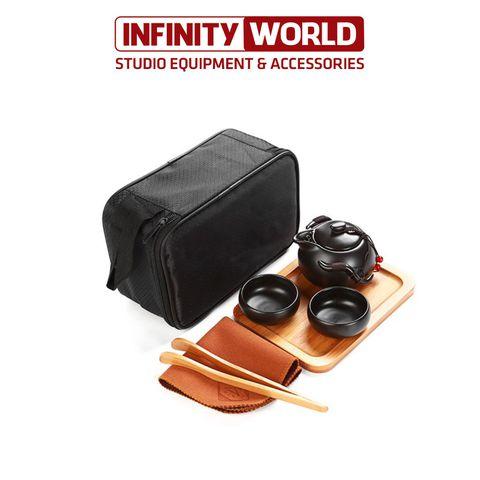 Bộ ấm trà du lịch 4 chén - Đủ khay trà, kẹp chén và khăn, túi chống shock