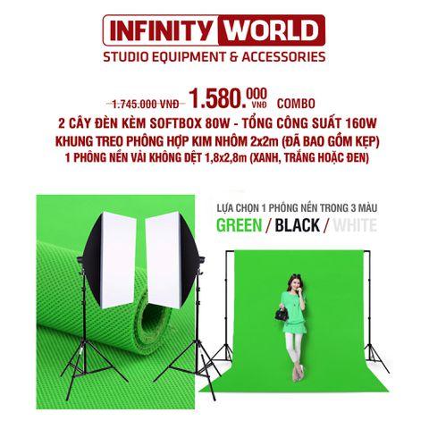 [COMBO] Set đèn chụp ảnh và livestream chuyên nghiệp & Bộ khung treo phông 2x2m Kèm phông nền 1,8x2,8m