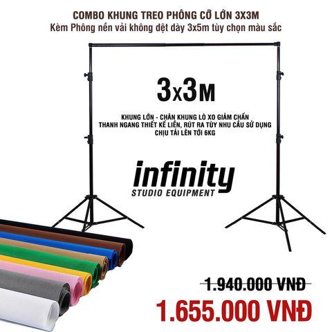 [COMBO] Khung treo phông cỡ lớn 3x3m & Phông nền vải không dệt 3x5m (Tùy chọn màu)