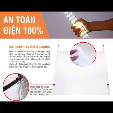 Hộp đèn chụp ảnh sản phẩm chuyên nghiệp TIANRUI (Đã gồm LED Và DIM điều chỉnh độ sáng) - Tặng kèm 8 phông nền