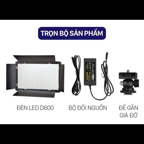 Đèn LED D600 (600 LED) 40W hỗ trợ chiếu sáng cho quay phim, chụp ảnh chuyên nghiệp (kèm phụ kiện chuyên dụng cao cấp)