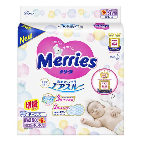 Bỉm quần Merries size M 58 miếng (6-11kg)