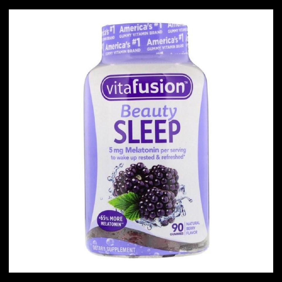 Kẹo Dẻo Hỗ Trợ Ngủ Ngon Vị Mâm Xôi Vitafusion Beauty Sleep Melatonin 5mg chai 90 Viên Của Mỹ