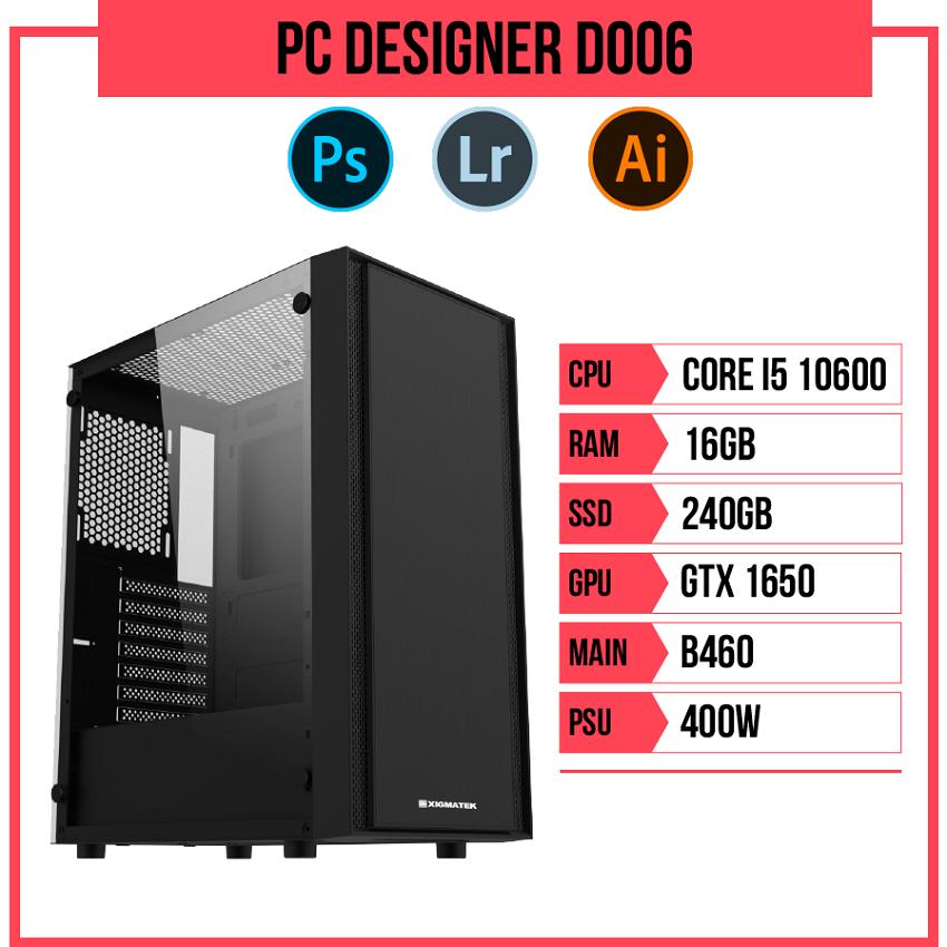PC Designer D006 (i5-10600/B460/16GB RAM/GTX 1650/240GB SSD/400w)