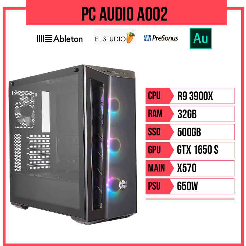 PC Audio A002 (R9 3900X/X570/32GB RAM/500GB SSD/GTX1650S/650W)