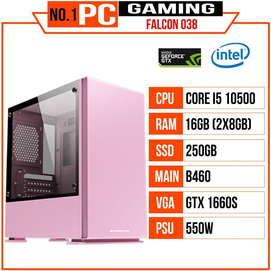 PC GAMING FALCON 038 (I5 10500/B460/16GB RAM/250GB SSD/GTX 1660 Super/550W/Tản CR-1000GT/RGB