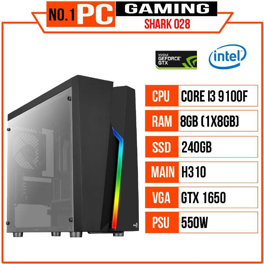 PC GAMING SHARK 028 (I3 9100F/H310/8GB RAM/240GB SSD/GTX 1650/450W/Tản CR1200/RGB