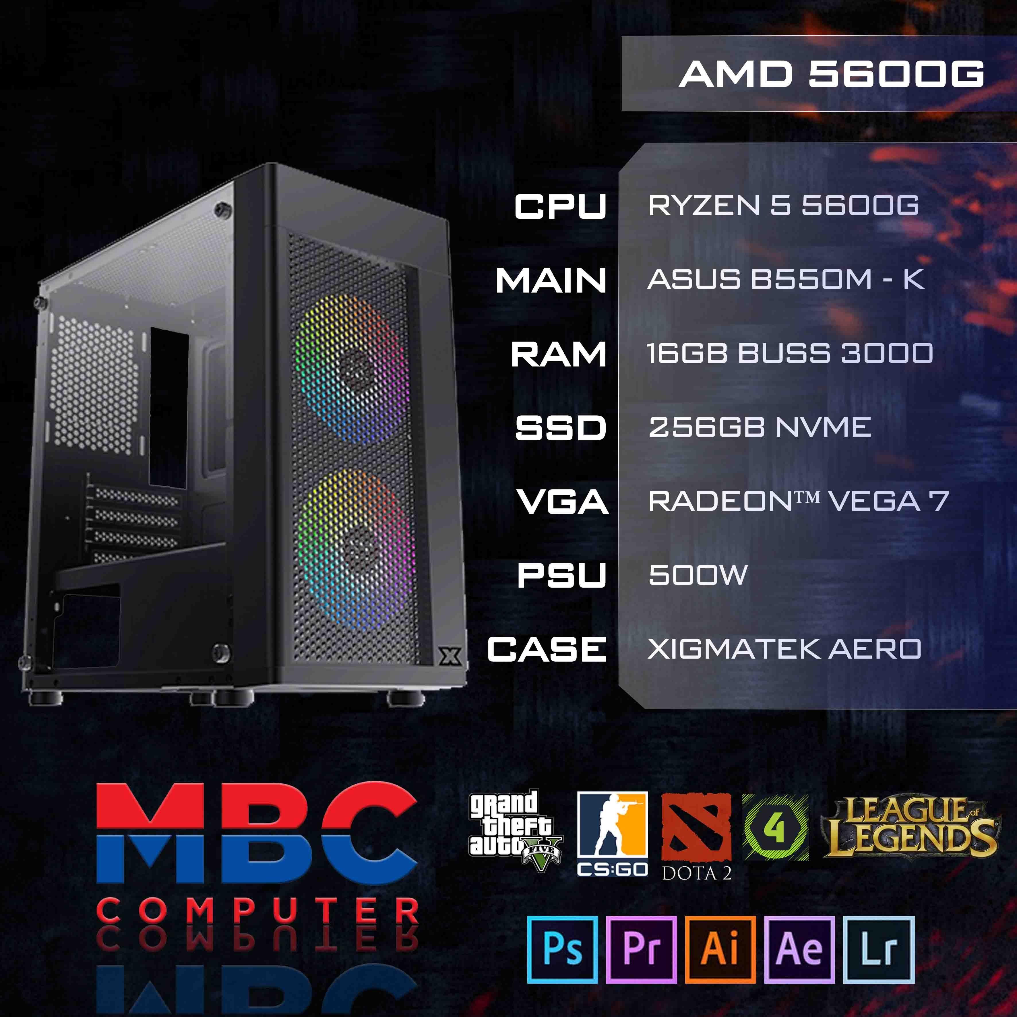 BỘ PC AMD Ryzen 5600G/B550/16GB RAM/SSD 256GB NVME