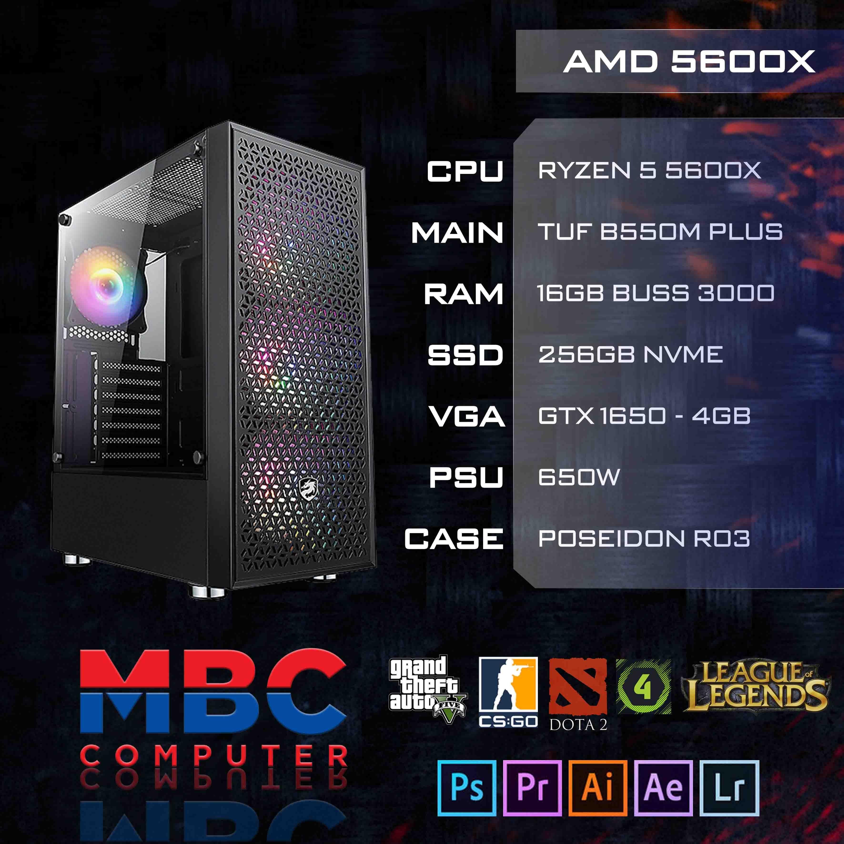 Bộ PC AMD Ryzen 5600X/B550/16GB RAM/SSD 256GB NVME