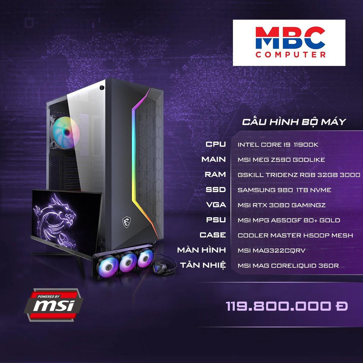 PC GAMING (Z590/I9 11900K/32GB RAM/SSD 1TB NVME/VGA 3080 GAMINGZ)