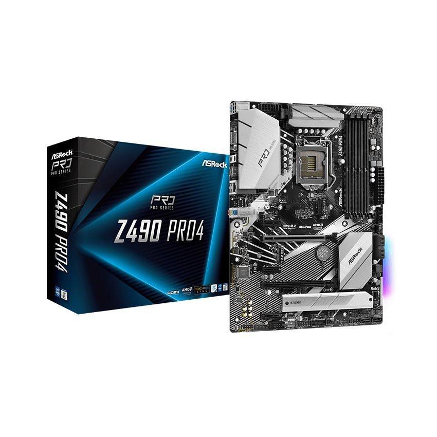 Mainboard ASROCK Z490 PRO 4 (Intel Z490, Socket 1200, ATX, 4 khe Ram DDR4)