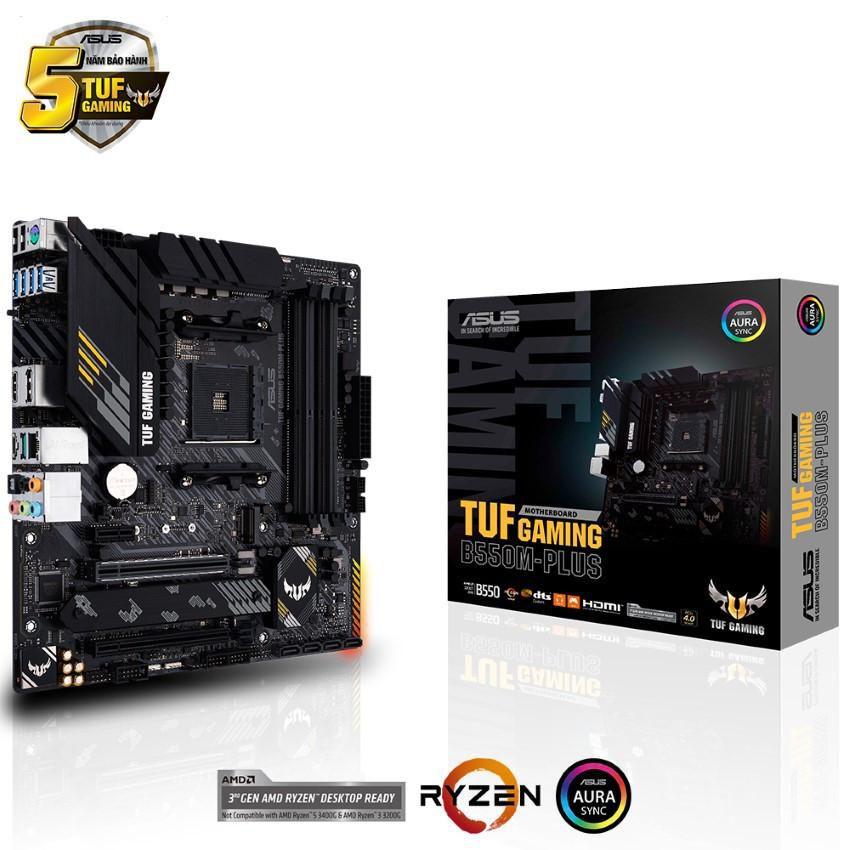 Mainboard ASUS TUF GAMING B550M-PLUS (AMD B550, Socket AM4, m-ATX, 4 khe RAM DRR4)